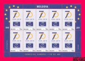 MOLDOVA 2019 European Council 70th Anniversary m-s Mi Klb.1118 MNH