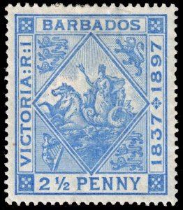 Barbados  - Scott 84 - Mint-Hinged - Adhesion on Back