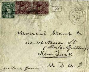 Guatemala 6c and 2c (2) National Emblem 1901 Oficina Postal de, Retalhulah to...