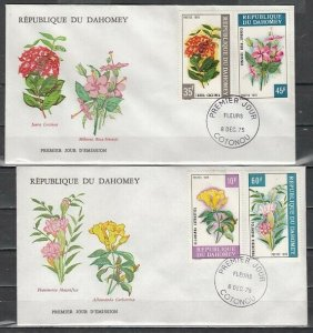 Dahomey, Scott cat. 342-345. Various Flowers issue. 2 First day covers. *