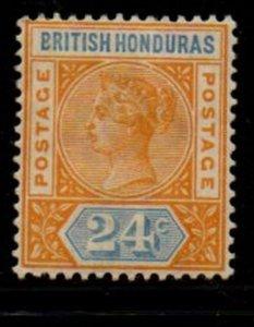 British Honduras Sc 45 1891 yellow & blue 24 c  Victoria stamp mint
