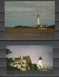 Karjala  2001 Russian Local. 2 Lighthouse IMPERF s/sheets. *