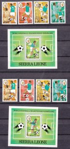 Z2399, 2 1982 sierra leone sets mh + s/s mnh #547-51, 561-5 ovpt,s sports