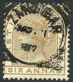 Zanzibar SGZ60 6a Pale Brown Z5 Squared Circle dated 1st Aug 1887