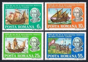 Romania 3770-3773,3774,MNH.Michel 4824-4828 Bl.277. Discovery of America-500.Map