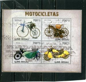 GUINEA BISSAU 2012 MOTORCYCLES SHEET OF 4 STAMPS MNH