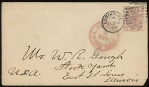 1875 LONDON  ENGLAND Cover to St Louis Illinois