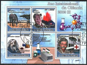 Sao Tome and Principe. 2009. Small sheet 4031-34. Scientists, Mendeleev, zebr...