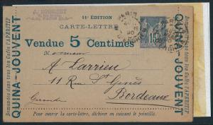 57869 - FRANCE: Advertising STATIONERY CARD 1890: MEDICINE dogs WINE music PIANO