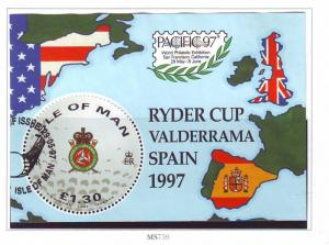 Isle of Man Sc 756 1997 Golf Ryder Cup stamp sheet used