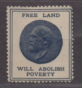 **US Cinderella RARE 1800's Free Land Will Abolish Poverty Poster Stamp, MH OG