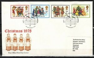Great Britain, Scott cat. 572-574. Christmas Musicians issue. First Day Cover. *