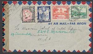BR GUIANA 1944 censor airmail cover to USA - nice franking.................27574