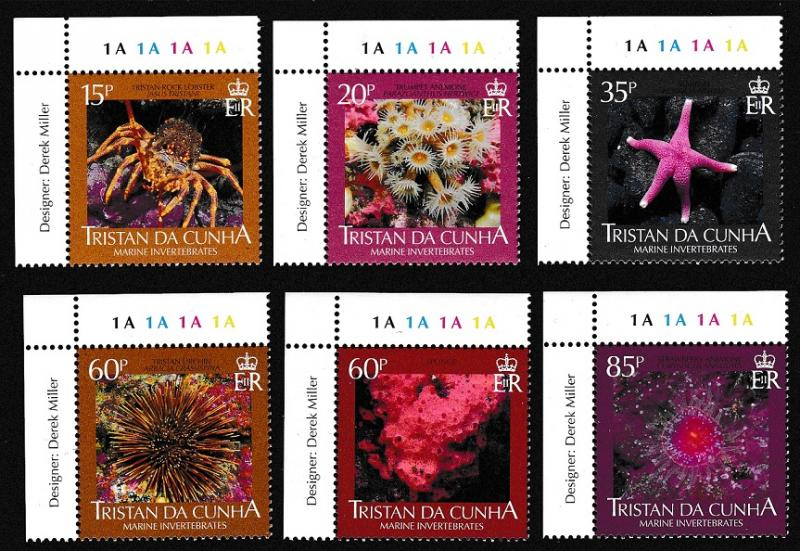 Tristan da Cunha Marine Invertebrates 6v Corners with inscripts SG#895/900