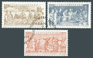 Czechoslovakia 667-669,CTO.Michel 878-880. Agriculture,industry,Dancers.1954.