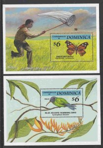 Dominica #1655-56 s/sheets F-VF Mint NH ** Butterfly, hummingbird