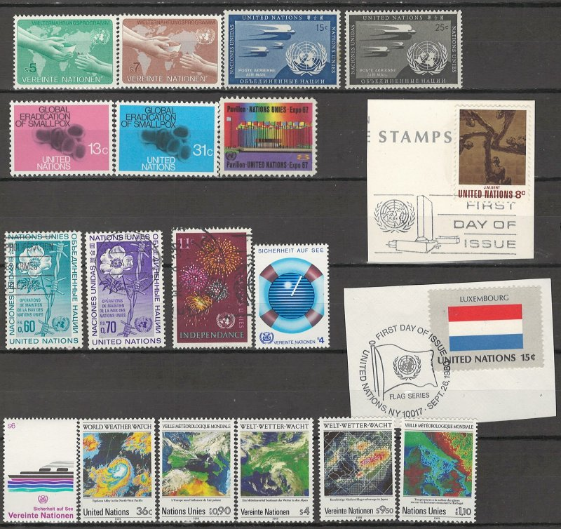 COLLECTION LOT # 4225 UNITED NATIONS 19 STAMPS 1951+ CV+$12.50