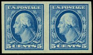 347 Mint Superb OG NH 5¢ Washington Pair Cat $130.00 - Stuart Katz