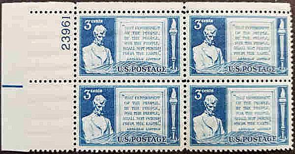 Scott 978 US 3c Lincoln & the Gettysburg Address, 1948, PLB UR 23961, MNH XF