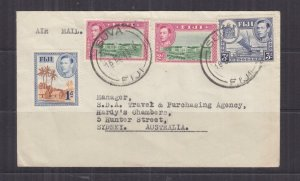 FIJI, 1948 Airmail cover, 1d. (uncancelled), 2d. (2) & 3d., Suva to Sydney, NSW