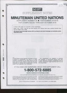 2016 SCOTT Minuteman United Nations Supplement Stamp Collector Pages