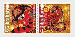 2013    GIBRALTAR  -  SG. 1488/9  -  YEAR OF THE SNAKE ON FIRST DAY COVER