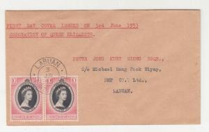 NORTH BORNEO, 1953 Coronation 10c. pair, First day cover, Labuan, local.