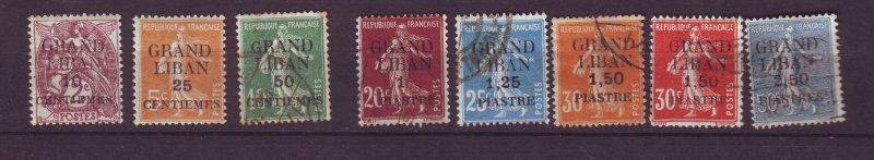 J23936 JLstamps 1924 lebanon mh/used #1-3,5-9 ovpt,s fine