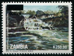 HERRICKSTAMP ZAMBIA Sc.# 1013 Waterfalls Mint Stamp Inverted Ovpt.