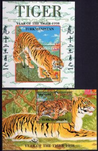 Turkmenistan 1998 YT#Bl.17/18 YEAR OF THE TIGER CHINESE NEW YEAR 2 S/S Perf.MNH