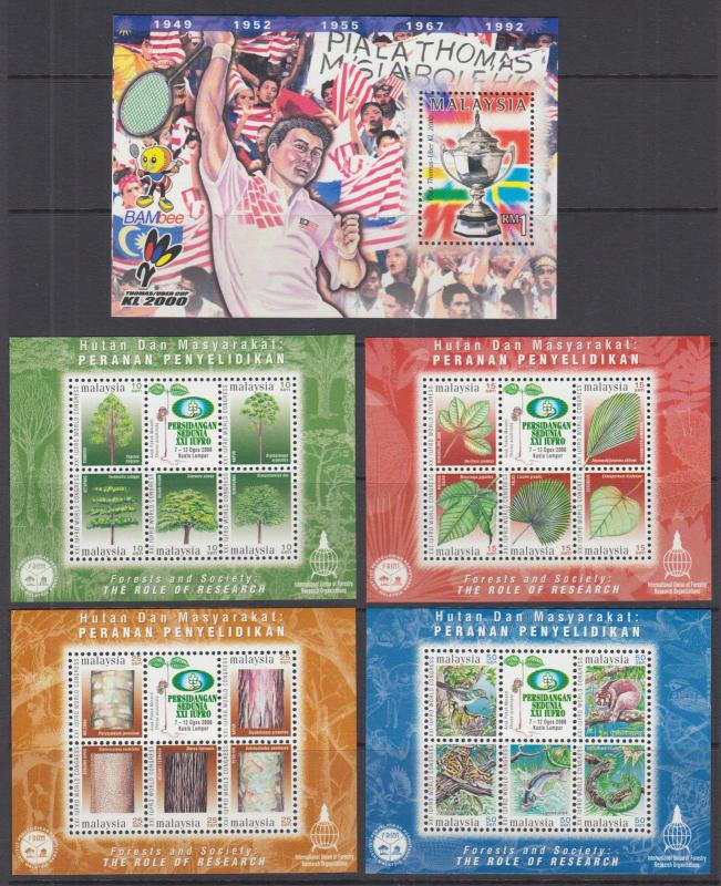 Malaysia Sc 786//892 MNH. 2000-2002 Souvenir Sheets, 9 different, VF