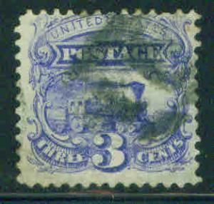 USA Scott 114 Steam Train 1869 3c with Grill CV $20