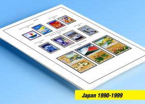 COLOR PRINTED JAPAN 1990-1999 STAMP ALBUM PAGES (77 illustrated pages)