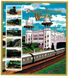 Sierra Leone MNH S/S Trains Of The World 6 Stamps X-Large Size