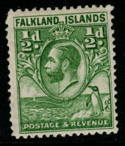 FALKLAND ISLANDS SG116 1929 ½d GREEN MTD MINT