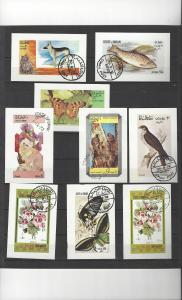 Oman 9 Souvenir Sheets Various Subjects  CTO Never hinged, full gum