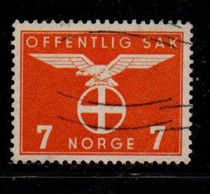 Norway Sc O47 1942 7 ore yellow orange Nazi Symbol Official stamp  used