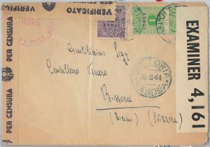 ITALY - POSTAL HISTORY: AMERICAN OCCUPATION of SICILY: Cover to SWITZERLAND 1945