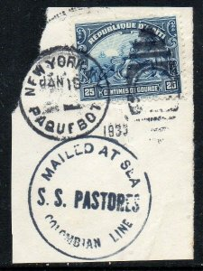 Haiti: 1933 25c, cancelled NY Paquebot with SS Pastores cachet on piece