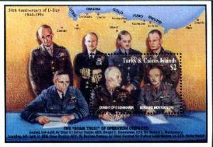 TURKS CAICOS SHEET EISENHOWER OVERLORD D DAY WORLD WAR 2 WW2