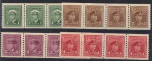 Canada - Superb 1948 KGVI Coil Strips mint #278-281 VF-NH