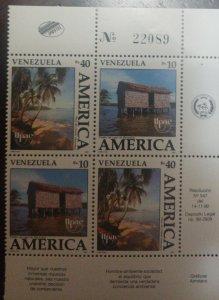 RJ) 1990 VENEZUELA, AMERICA UPAEP, PALM, CABIN, BLOCK OF 4, XF