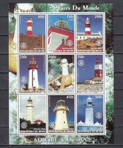 Benin, 2003 Cinderella. African Lighthouses sheet of 9. ^