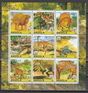 Angola, 2002 Cinderella issue. Dinosaurs on a sheet of 9. Scout logo in design.