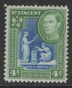 ST.VINCENT SG167a 1952 4c BLUE & GREEN MTD MINT