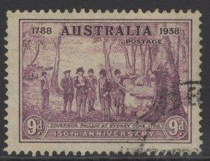 AUSTRALIA SG195 1937 9d PURPLE FINE USED