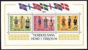 Faroe Islands 1983 MNH Sc #101 Sheet of 3 Traditional Costumes