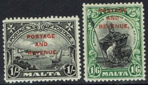 MALTA 1928 PICTORIAL OVERPRINTED POSTAGE AND REVENUE 1/- AND 1/6