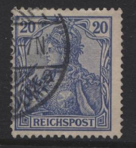 GERMANY. -Scott 56 - Definitives -1900 -Used - Ultra -Single 20pf Stamp4