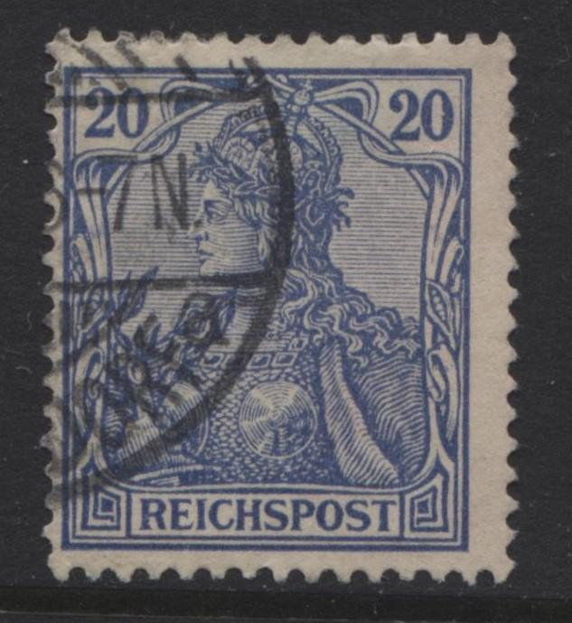 GERMANY. -Scott 56 - Definitives -1900 -Used - Ultra -Single 20pf Stamp4